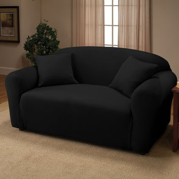 Black Jersey Loveseat Stretch Slipcover, Sofa, Chair, Recliner, Couch Cover Love Seat Cover, Kashi Home (Love Seat)