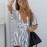 Summer Striped Printed V-neck High Waist Short Sleeve Open Back Chiffon Rompers with Belt