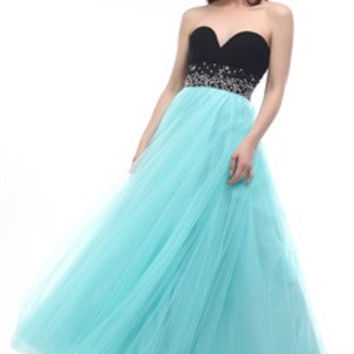 Contrast Sweetheart Tulle Prom Dress With Beading Waistband