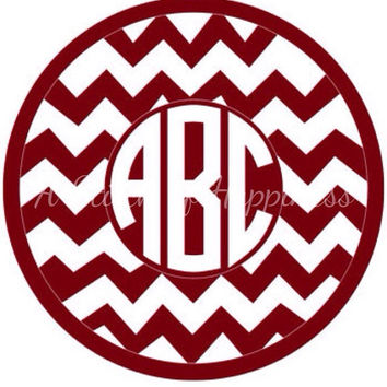 Chevron Monogram Car Decal - Circle Monogram Chevron Car Decal