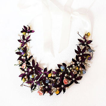 Handmade Wedding Jewelry, Spring Flowers Statement Necklace, Bridal Necklace, Unique Design