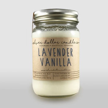 Lavender and Vanilla 16oz Scented Candle, Soy Candles, Mason Jar Candles, Christmas Gifts, Gift Idea, Gift for mom, scented candles