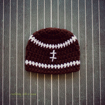 Football Beanie - Crocheted - Newborn - Baby Boy