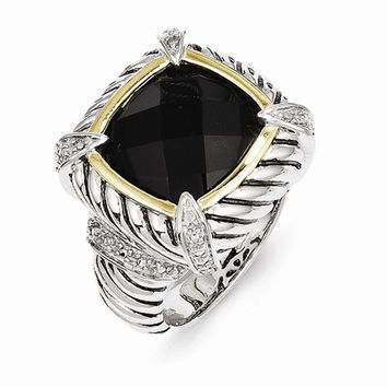 Sterling Silver Gold Black Onyx Diamond Ring