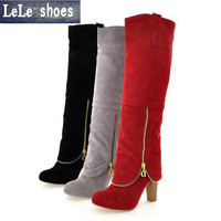 LELE 2017 New Winter Women Knee High Boots  Big Size 34-43 Fashion Thigh HIgh Boots Zipper With fur Female high heels shoes