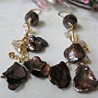 Chocolate Brown Keshi Pearl Crystal Pierced Handmade Earrings | DoubleSJewelry - Jewelry on ArtFire