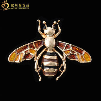 OBN Vintage Silver/Gold Enamel Bee Brooch Women Hijab Pin Costume Jewelry Insect Brooches