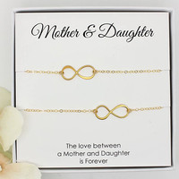 Mother Daughter necklace set gold infinity necklaces Mother's Day gifts for mom in a gift box
