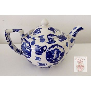 Blue & White English Transferware Teapot Pictorial Britain British Pottery Images