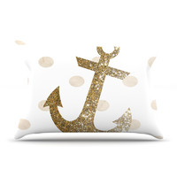 "Nika Martinez ""Glitter Anchor"" Gold Sparkles Pillow Case"