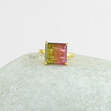 Gemstone Ring, Christmas Gift, Prong Ring, Watermelon Tourmaline Bi Doublet Ring, Square Ring, 925 Silver Ring #12067
