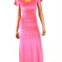 Hot Pink Short Sleeve Velvet Maxi Gown
