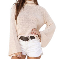 Turtleneck Lace Up Sweater