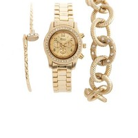Metallic Watch & Bracelet 3-Piece Set: Charlotte Russe