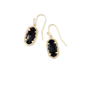 Lee Gold Drop Earrings in Black | Kendra Scott