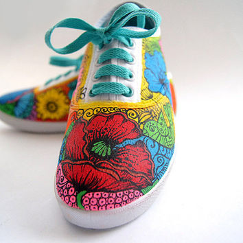 Custom-made Shoes with Flowers. Handpainted Sneakers, Colorful Women's Low-tops Decorated with Blossoms.