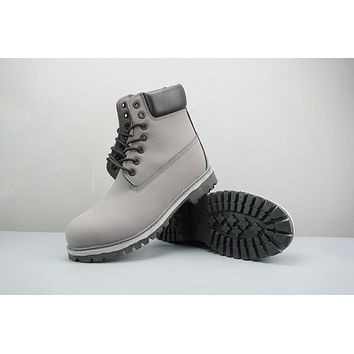 Timberland Leather Lace-Up Boot High Gray Black