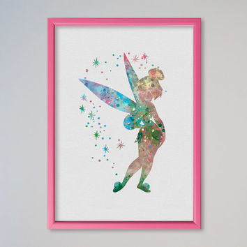 Tinker Bell Poster FRAMED Peter Pan Poster Disney Watercolor Picture Nursery Art Fairy Tale