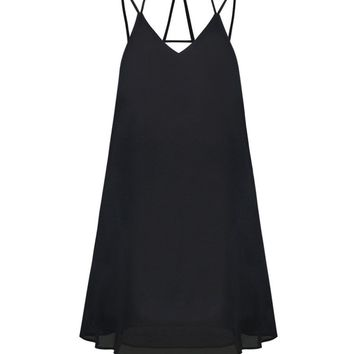Streetstyle  Casual Strappy Spaghetti Strap Plain Shift Dress