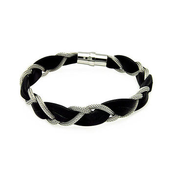 .925 Sterling Silver Rhodium Plated Beaded Black Leather Italian Bracelet: SOD