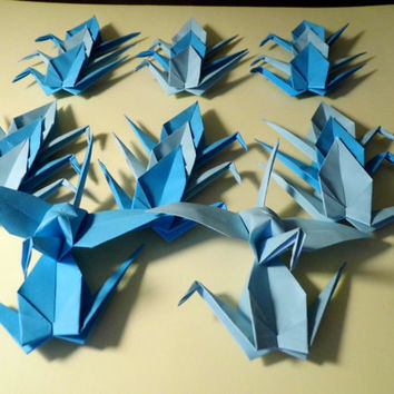 Origami Paper Wedding Crane blue tone, Wedding Crane, Origami Crane, Blue Crane, Wedding Decoration Crane, Origami wedding, Set of 1000