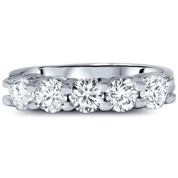 1.00CT Five Stone Genuine Round Diamond Wedding Anniversary Ring 14K White Gold  - Size 4-9