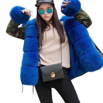 Women's Army Green Luxury Fox Fur Collar Cuff Hooded Coat Parkas Outwear Camouflage Winter Jacket Coat
