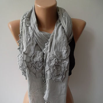 Cotton and lace scarf/shawl  gray