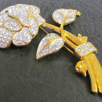 Vintage Nolan Miller Brooch Gold Tone Rose and Rhinestone Pin