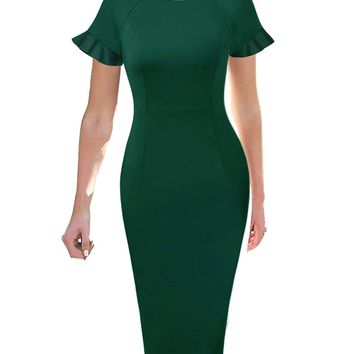VFSHOW Elegant Ruffle Flutter Sleeve Work Business Office Sheath Dress