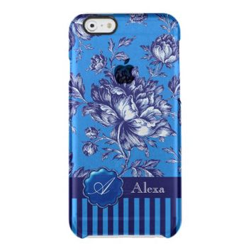 Blue Stripes/Matching Floral Design iPhone 6 Case Uncommon Clearly™ Deflector iPhone 6 Case