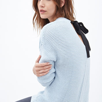 FOREVER 21 Ribbon-Back Waffle Knit Sweater