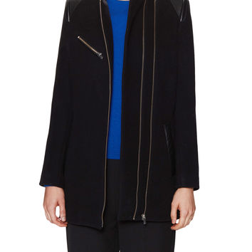 Maje Women's Contrast Double Zipper Jacket - Black -