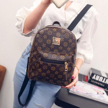PU Leather Printing Laptop Backpack Women Preppy Knapsack Female Travel Bagpack For Girls School Bag Student Bookbags Sac Ecole