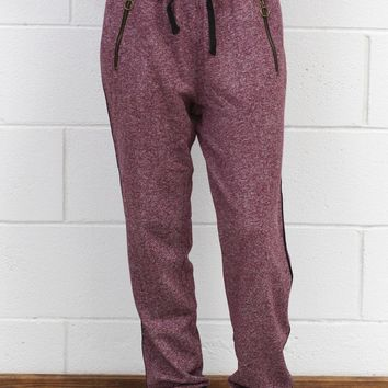 Heathered + Striped Joggers w/ Zip Pockets {Burgundy}