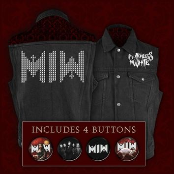 Logo Studded Denim Vest : FEAR : Motionless In White