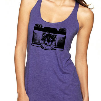 Womens Camera Shirt tank top ladies tshirt clothing active wear trendy photographer gifts razor back fun gym shirts