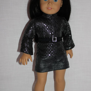 18 inch doll clothes, sequin flare sleeve shirt, grey leather look skirt, black elastic belt, american girl, maplelea