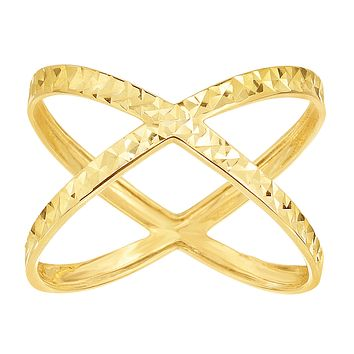 14K Yellow Gold Diamond Cut Cross Over X Design Fashion Ring