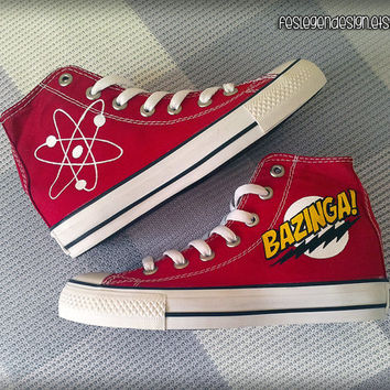 Bazinga / The Big Bang Theory Custom Converse / Painted Shoes / TBBT