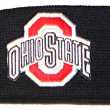 NCAA Licensed Ohio State Buckeyes Black Embroidered Team Logo Sweatband Headband