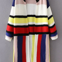 Multicolor Striped Open Front Knit Coat