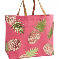 Tropical Dazzle Pineapple Jute tote | Monday Dress Boutique