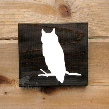 Rustic Wood Owl Wall Art - 6x6 pine,rustic nursery,rustic decor,stained wood,woodland,forest,kids room,country chic,babyshower,cabin decor