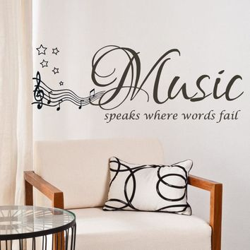 Music Speaks Quote Wall Stickers for Home Decor