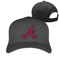 Unisex Atlanta Braves Team Logo Fashion Peaked Cap Baseball Hat Black