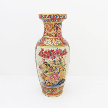 Japanese Satsuma style porcelain vase with flowers birds and gold trim