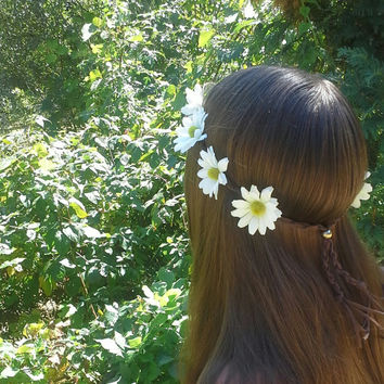 Daisy Flower Crown, Flower Headband, Daisy Head Band, White Daisies, Coachella , Hippie Headband, Daisy headband, Flower Child, White Flower