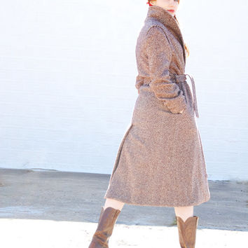 Vintage 1970s coat, brown tweed ivory wool herringbone jacket, long duster trench coat, retro boho, Pendleton M L XL Gabriel SALE