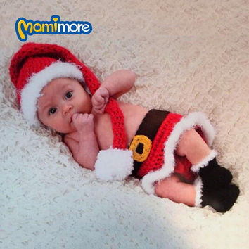Newborn Baby Christmas Santa Knitted Crochet Photo Photography Prop Lovely Hats Costume Outfits For 0-1 Year Toddler Hot Sale